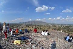 Teotihuacan, de Piramide van de Zontempel, Januari 2015, Fisheye Royalty-vrije Stock Afbeeldingen