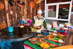 Mexican restaurant chef in Teotihuacan, Mexico. TEOTIHUACAN, MEXICO - DEC 4, 2015: Mexican restaurant chef in Teotihuacan, Mexico on Dec 4, 2015. Mexican food stock photo