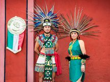 People from Maya tribe in traditional costume in Teotihuacan, Me Royalty Free Stock Photo