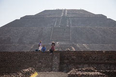 People selling souvenirs on the pyramid of the Sun Royalty Free Stock Photo