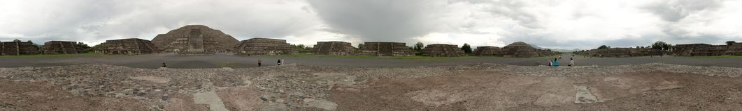 Panoramic view of the Teotihuacan pyramids, a UNESCO World Heritage Site. royalty free stock photos
