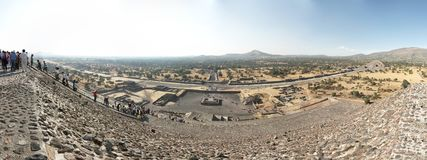 Panoramic view of the Teotihuacan pyramids, a UNESCO World Heritage Site. royalty free stock images