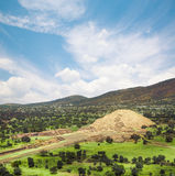 Teotihuacan, Mexico, Pyramid of the moon and the avenue of the D. Teotihuacan, Avenue of the Dead and the Pyramid of the Moon Stock Photos
