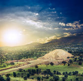 Teotihuacan, Mexico, Pyramid of the moon and the avenue of the D. Teotihuacan, Avenue of the Dead and the Pyramid of the Moon Royalty Free Stock Image