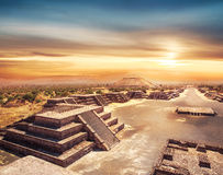 Teotihuacan, Mexico, Pyramid of the sun and the avenue of the De. Teotihuacan, Avenue of the Dead and the Pyramid of the sun Royalty Free Stock Image