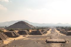 Teotihuacan, Mexico. Pyramid of the Sun viewed from Pyramid of the Moon. Teotihuacan, Mexico - January 5, 2018. Archaeological site of Teotihuacan stock photo