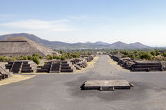 Teotihuacan Pyramids in Mexico. Are part of the archaeological site in the Basin of Mexico, just 30 miles (48 km) northeast of Mexico City, containing some of Royalty Free Stock Image