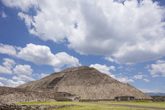 Teotihuacan Pyramids Mexico with perfect patchy clouds. The Pyramid of the Sun is the largest building in Teotihuacan, believed to have been constructed about Royalty Free Stock Images