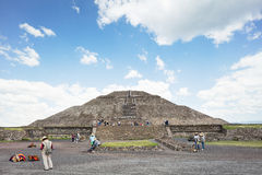 Teotihuacan Pyramids Mexico with perfect patchy clouds. The Pyramid of the Sun is the largest building in Teotihuacan, believed to have been constructed about Royalty Free Stock Image