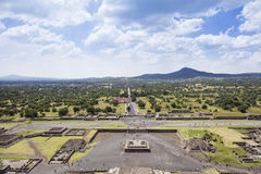 Teotihuacan Pyramids Mexico with perfect patchy clouds. View from to the valley from the The Pyramid of the Sun which is the largest building in Teotihuacan Stock Images