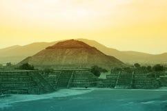 Teotihuacan Pyramids. Near Mexico City at sunset stock photos