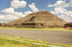 Teotihuacan Sun pyramid. Sun Pyramid in Azteca archeological zone near Mexico City, Mexico Royalty Free Stock Photo