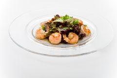Tepan Garnelen mit Salatmischung Lizenzfreies Stockfoto