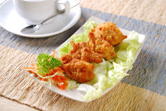 Tepanyaki fried chicken. Chicken coated cooked crispy crunchy cuisine dinner fattening feed food fried fry golden grease greasy health junk kitchen lunch Stock Photo