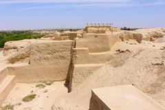 Tepe Sialk is a large ancient archeological site a tepe, `hill` or `mound`, Kashan, Iran stock images
