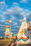 Tepee Curios Vertical Sun Setting Tucumcari NM Stock Photography