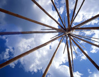 TePee Lodge Poles. Looking up at the lodge pole frame of a Tepee, an American Indian Lodge Royalty Free Stock Photography