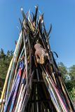 A tepee made from skis outdoors. stock image