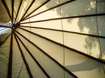 Tepee. The ribs of an Indian tepee from inside Stock Photo