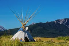 Tepee on the western plains. Authentic tepee from Native North Americans Stock Photography