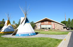 Tepees at Buffalo Bill Center of the West. CODY, WYOMING - JUNE 24, 2017: Tepees at Buffalo Bill Center of the West. A complex of five museums and a research