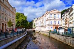 Tepla flod i Karlsbad (Karlovy varierar), Arkivbilder