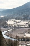 Tepla River in snowy winter landscape near Cihelny, Karlovy Vary. Tepla River in beautiful snowy winter landscape near Cihelny before Brezova dam, Karlovy Vary Stock Photo