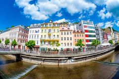 Tepla River embankment with hotels and restaurants. Karlovy Vary Royalty Free Stock Images