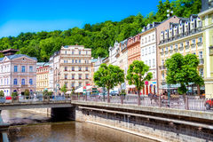 Tepla River embankment. Karlovy Vary, Czech republic Stock Photography