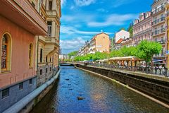 Tepla River and its Promenade at Karlovy Vary Czech Republic Stock Photos