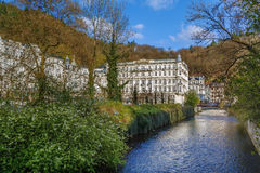 Tepla river in Karlovy Vary, Czech republic Royalty Free Stock Images