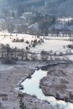 Tepla River in snowy winter landscape near Cihelny, Karlovy Vary. Tepla River in beautiful snowy winter landscape near Cihelny before Brezova dam, Karlovy Vary Royalty Free Stock Images