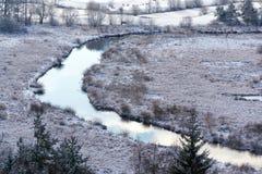 Tepla River in snowy winter landscape near Cihelny, Karlovy Vary. Tepla River in beautiful snowy winter landscape near Cihelny before Brezova dam, Karlovy Vary Stock Photography