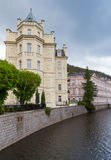 Tepla river, street view of  Karlovy Vary town. Czech Republic Royalty Free Stock Photography