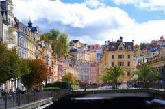Tepla rzeka w Karlsbad (Karlovy Zmienia) Zdjęcie Royalty Free