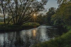 Tepla Vltava rzeka blisko Soumarsky Najwięcej wioski zdjęcia royalty free