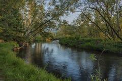 Tepla Vltava rzeka blisko Soumarsky Najwięcej wioski fotografia stock
