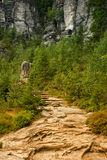 Teplice rocks of Adrspach 2. An outlook path in Teplice rocks of Adrspach in the Czech Republic royalty free stock photos