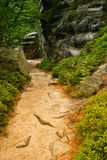 Teplice rocks of Adrspach 3. An outlook path in Teplice rocks of Adrspach in the Czech Republic royalty free stock image