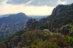 The Tepozteco archaeological zone located in the state of Morelos Mexico. Beautiful mountainous view. Tepozteco hill. Archaeological site located in the Mexican stock photos