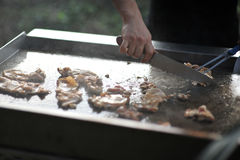Teppanyaki chicken. Sliced chicken on the grill teppanyaki style Royalty Free Stock Photos