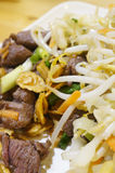 Teppanyaki. Fresh Beef Teppanyaki served with vegetable and rice Royalty Free Stock Photos