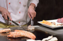 Teppanyaki japanese cuisine sauteed seafood Royalty Free Stock Images