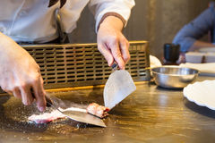 Teppanyaki japanese plate chef Royalty Free Stock Photography