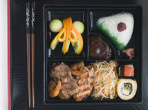 Teppanyaki Lunchbox with Chopsticks. Overhead shot of Teppanyaki Lunchbox with Chopsticks Stock Photography