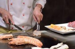 Teppanyaki sautierte essbare Meerestiere der japanischen Küche Lizenzfreie Stockbilder
