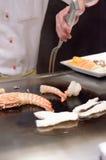 Teppanyaki sautierte essbare Meerestiere der japanischen Küche Stockfoto