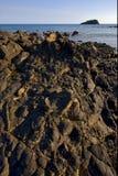 Teppich des Steins in einem Strand in neugierigem ist Madagaskar Lizenzfreies Stockfoto
