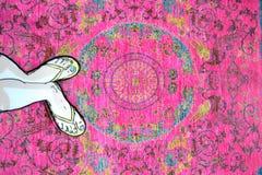 Teppich mit den Verzierungen handgemacht Lizenzfreie Stockfotografie