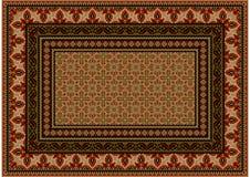 Teppich mit ethnischer Verzierung mit roten Mustern zur Grenze in den hellbraunen Schatten Stockbilder